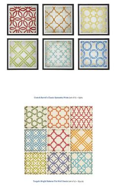 COPY CAT CHIC FIND: Crate & Barrel's Classic Symmetry Prints VS Target's Bright Patterns Tile Wall Decals