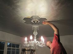DIY Mirrored ceiling medallion