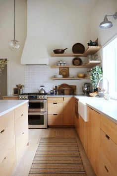9 Kitchen Trends for 2019 We're Betting Will Be Huge - Emily Henderson,Natural wood kitchen cabinets Raise Your Room With New Kitchen Decoration Your kitchen might be a practical room in your house, but that doesn't mean . Home Decor Kitchen, Kitchen Interior, New Kitchen, Kitchen Rug, Kitchen Ideas, Kitchen Wood, Kitchen Sinks, Kitchen Backsplash, Backsplash Ideas