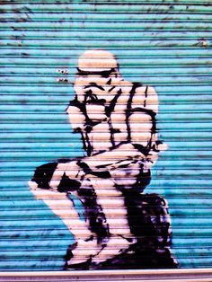 Oldham Street, Manchester, England - Star Wars graffiti in the...
