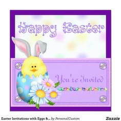 Easter Invitations with Eggs & Bunny's