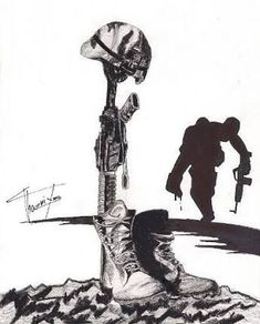 Fallen Soldier Drawing Soldier fallen by Army Drawing, Soldier Drawing, Cross Drawing, Army Tattoos, Military Tattoos, Patriotic Pictures, Military Drawings, Army Wallpaper, Desenho Tattoo