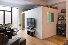 6 Cool Ways to Create a Mini-Room Within Another Room - Raum Teiler Spare Bedroom Office, Extra Bedroom, Extra Rooms, Bedroom Divider, Room Divider Walls, Attic Design, Bed Design, Interior Design, Small Apartments