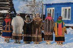 The Nenets, also known as Samoyeds, are an indigenous people in northern arctic Russia. The Nenets have a very rich tradition of working with fur, as many of the northern people do. The men and women basically wear the same thing, a parka like shirt with a hood, and often a bib flap in front, baggy pants and boots.