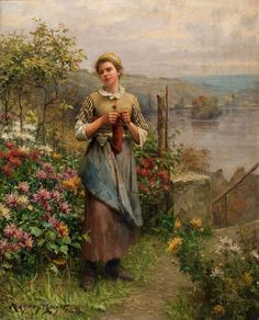 D.R. Knight : Young Woman Knitting