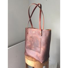 Oil Tanned Top Grain Leather Tote Bag  Large Brown by HattonHenry