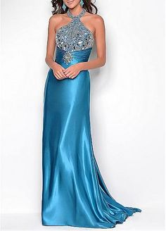 Fashionable Stretch Satin Sheath High Neck Embellished Full Length Evening Gown