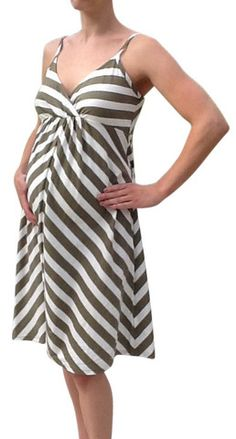 "- Olive chevron striped dress - Empire waist, adjustable straps - Cotton, modal, 38"" long - Brand blacked out - Product #306"