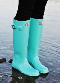 Baby blue Hunter rain boots
