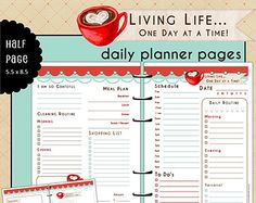 Half Page UNdated Daily Planner Refill Inserts - LIVING LIFE - Bonus Notes/Journal Page