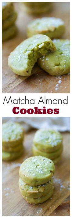 Matcha cookies with almond – buttery and crumbly Japanese matcha (green tea) cookies with almond. Super easy matcha cookies recipe that anyone can make. i think i would add almond extract to this though. Matcha Cookies, Almond Cookies, Buttery Cookies, Cake Cookies, Cookies Vegan, Chocolate Cookies, Asian Recipes, Sweet Recipes, Healthy Recipes