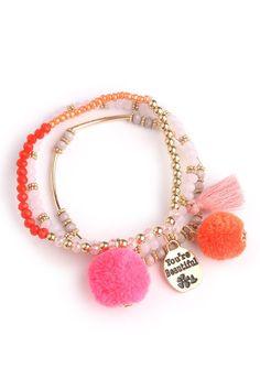 Your Beautiful Pom Pom Bracelet