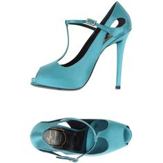 Roger Vivier Court ($325) ❤ liked on Polyvore featuring shoes, pumps, turquoise, stiletto pumps, stilettos shoes, ankle strap stiletto pumps, open toe stilettos and leather sole shoes