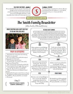 Make this years CHRISTMAS LETTER or YEAR IN REVIEW more interesting, stylish and fun!    This Newsletter / Year In Review template is in PDF form