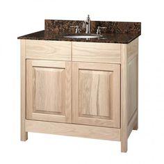 "36"" Unfinished Mission Hardwood Raised Panel Vanity for Undermount Sink"