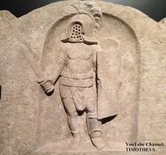 "More on the murmillo (gladiator) on: https://www.youtube.com/watch?v=wBy3HCAAJGs&list=PLabDxfGj6LIcG80kg6yLHpm1xVcV_pSdQ&index=4 Murmillo named Quintus Sossius on a funerary stone. Note the helmet of the fourth type. Aquileia, 100-200 CE. Gladiator exhibition (""Gladiatoren: Helden van het Colosseum""), Gallo-Romeins Museum, Tongeren (Belgium)."