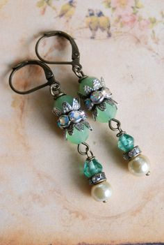 Sadie. green glass beadedrhinestonepearl drop by tiedupmemories