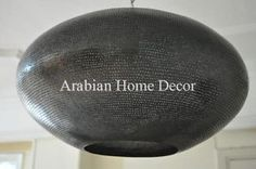 "Handcrafted Moroccan Black Oxidized Brass 16"" Hanging Lamp Light"