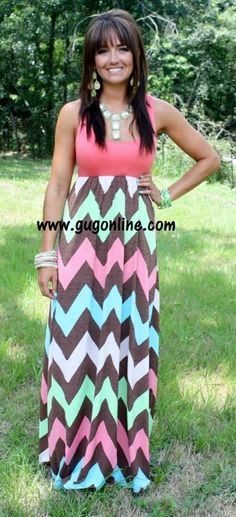 Chevron And On Brown and Coral Chevron Maxi Dress-NOW IN PLUS $49.95 www.gugonline.com