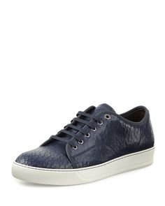 Leather-trimmed Mesh Sneakers - Midnight blueLanvin u8NI27h