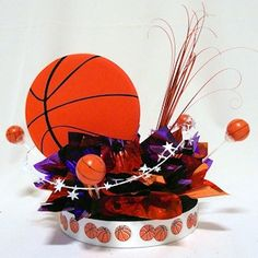 ... For This DIY Basketball Centerpiece Kit On A 9 Inch Diameter Glamour  Base For Theme Parties And Special Events. GReat For Bar Mitzvah Table  Decorations.