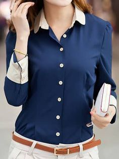 The classic button down shirt pattern has a collar and full-length button opening at the front. Button down shirts are timeless and versatile. You can get a formal or casual look depending in your … Read Business Outfit Frau, Business Outfits, Business Attire, Office Outfits, Casual Outfits, Cute Outfits, Office Wear, Navy Outfits, Casual Attire