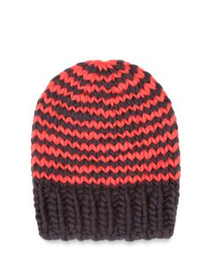 The Zion Lion hat is a signature Wool and the Gang style, made unique by The Gang in Midnight Blue and Lipstick Red stripes, with a Midnight Blue trim.