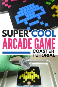 Love playing arcade games? Then you'll love making these DIY resin coasters based on the Space Invader aliens. They're made using an inexpensive  silicone trivet as the mould to create the pixels. Tutorial includes a BONUS ALIEN TEMPLATE as a guide to create your own set of pixel characters. #MillLaneStudio #diyresincoasters #geekgiftsdiy #pixelcrafts Diy Resin Coasters, Bar Coasters, Key Bottle Opener, Wine Bottle Stoppers, Cute Gifts, Diy Gifts, Handmade Gifts, Novelty Gifts For Men, Pixel Characters
