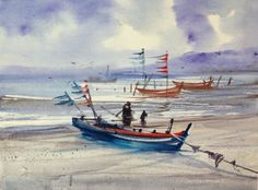 Water colour on canvas by Ajarn Suchart Wongtong