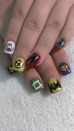 DC and Marvel comics super hero nail art