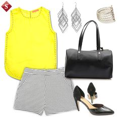 black and white +yellow #getthelook #SIMAN