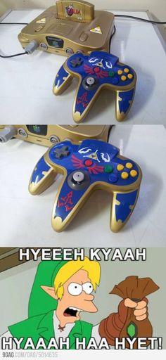 Custom homemade Nintendo 64 console, Zelda Ocarina of Time themed.
