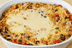 Southwestern Breakfast Casserole with eggs, sausage, black beans, hash brown potatoes, Cheddar cheese, Mozzarella cheese