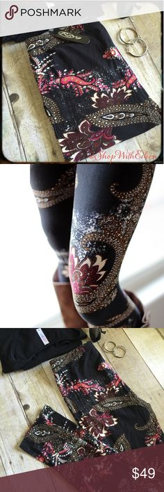 Ring Black Paisley Floral Leggings LulaRoe Like  Ring Buttery Soft Black Paisley Floral Leggings NWT As many of you know I adore leggings!!! I'm always on the hunt for leggings that have the same buttery soft fabric that LulaRoe has! I FOUND THEM! These gorgeous leggings have a black background with fuchsia pink, bronze, and off white paisley and floral print ! Gorgeous! I would say these run similar as ONE SIZE LLR! The waistband is an elastic waistband that is very comfortable! Look at…