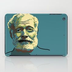 Teal iPad case with portrait of Ernest Hemingway.