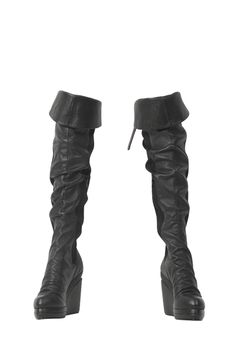 """LEATHER PANELLED OVER THE KNEE PLATFORM WEDGE BOOT. WOOD COVERED HEEL WITH SIDE ZIPPER AND TOP BUCKLE STRAP DETAIL. 4 1/2 HEEL., 1"""" PLATFORM. 100% LEATHER/ 100% COTTON TRIM.    FIT:FITS TRUE TO SIZE  826.00"""