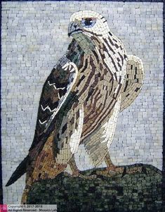 contemporary home accents A beautiful handmade mosaic art of an eagle by mosaics lab Mosaic Designs, Mosaic Patterns, Mosaic Ideas, Wood Patterns, Pattern Art, Mosaic Birds, Mosaic Animals, Mosaic Artwork, Marble Mosaic