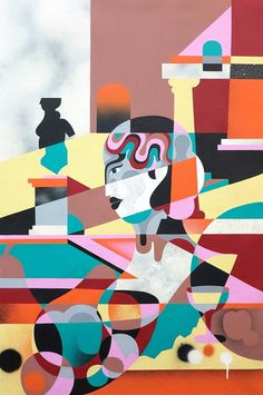 A selection of the street art creations and paintings by Australian artist James Reka, aka RekaOne, who imagines colorful compositions inspired by cubism, art Tag Street Art, L'art Du Portrait, Composition, Cubism Art, Australian Artists, Art Studies, Street Artists, Tag Art, Graffiti Art