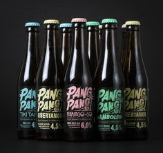"Pang Pang Brewery looks like it has spunk. The ""Pang pang"" looks energetic, as if it were made from fast moving brush strokes. Each flavor is spotlighted with another themed font directly under the logo."
