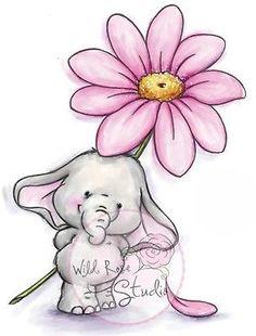 Illustration - Wild Rose Studio Clear Stamp Set - Bella with Daisy Elephant Love, Elephant Art, Elephant Tattoos, Cute Elephant Drawing, Animal Drawings, Cute Drawings, Baby Elefant, Art Mignon, Baby Art