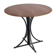 Lumisource DT-BORO WL BK Boro Wood and Metal Dining Table