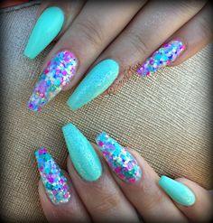 mermaid nails #gelpolish #mermaid #mermaidnails #longnails