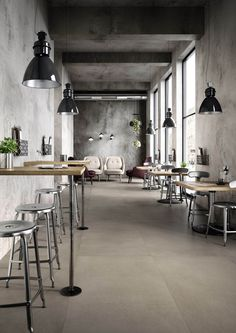 Powder ceramic tiles shop interiors, industrial coffee shop, i Restaurant Interior Design, Shop Interior Design, Cafe Design, Industrial Coffee Shop, Industrial Cafe, Vintage Industrial, Bar Beton, Deco Restaurant, Appartement Design