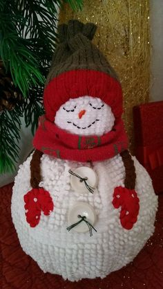 """Christmas Cutie"" Snowman from the Cranberry Smuggler on eBay!  Handmade Vintage White Chenille Hobnail Bedspread Snowman Christmas Decoration"