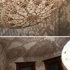 festive doily lamp shadows