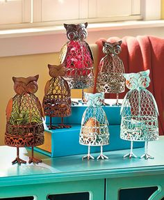 Sets of 2 Owl Curiosity Cages
