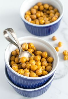 Crispy Roasted Chickpeas | http://nourishedtheblog.com | Crispy roasted chickpeas are my new favourite oven roasted snack. These crispy gluten free and vegan bites are full of healthy fiber and protein and are easy to eat on the go!