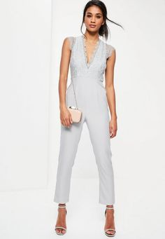 embrace the lace and get some serious outfit goals wearing this beaut grey jumpsuit - featuring a plunging neckline, a sleeveless design and lace detailing.