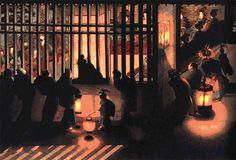 Night Scene in the Yoshiwara - Katsushika Oei. Oei was the daughter of Katsushika Hokusai. Miss Hokusai, Katsushika Hokusai, Memorial Museum, Art Japonais, Japanese Painting, Chinese Painting, Painting Art, Watercolor Paintings, Gifs
