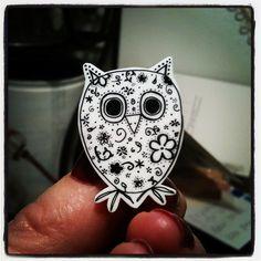 doodled owl brooch